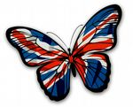 Beautiful Butterfly  With Union Jack British GB Flag Vinyl Car Sticker 130x90mm
